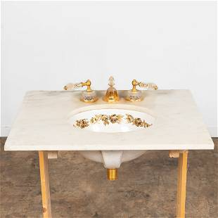 SHERLE WAGNER FAUCET & SINK WITH MARBLE COUNTER