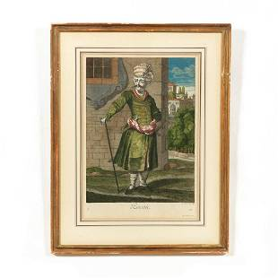"""18TH C. """"PERSIAN"""" HAND COLORED ENGRAVING, FRAMED"""