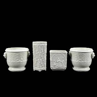4 PC, WHITE CERAMIC DECORATIVE OBJECTS, MOTTAHEDEH