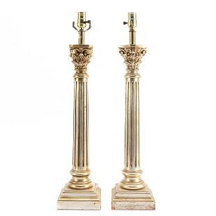 PAIR, GILT CORINTHIAN COLUMN FORM TABLE LAMPS