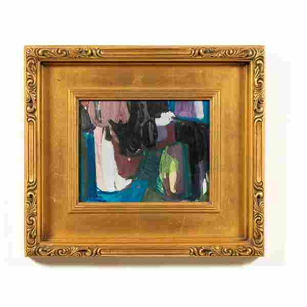 WILLIAM HENRY ABSTRACT MCM PAINTING GILTWOOD FRAME
