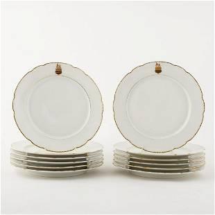 SET 12 BOYER PORCELAIN ARMORIAL DINNER PLATES
