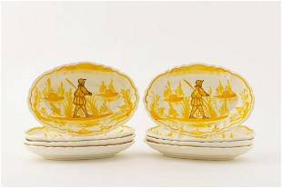 SET OF 8, GOLD & CREAM FIGURAL PAINTED DISHES