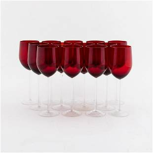 25 PCS, RUBY & CLEAR GLASS GOBLETS