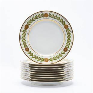 SET 10, CHAS. AHRENFELDT GILT LAUREL DINNER PLATES