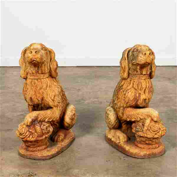 PAIR, SEATED DOG CAST IRON GARDEN FIGURES