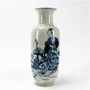 CHINESE BLUE & WHITE FEMALE FIGURAL BALUSTER VASE