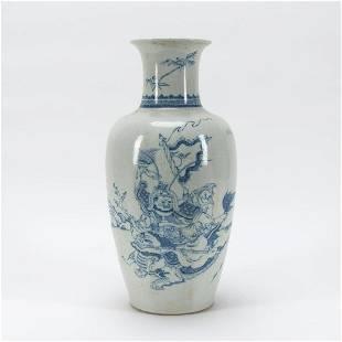 CHINESE BLUE & WHITE HORSE & RIDER PORCELAIN VASE