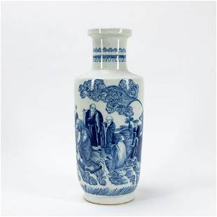 CHINESE BLUE & WHITE FIGURAL BANGCHUIPING VASE