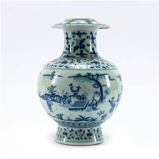 CHINESE BLUE & WHITE FLARE RIM FIGURAL SCENE VASE