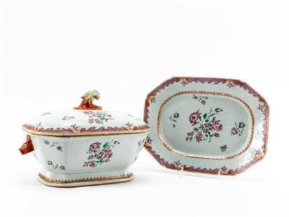 CHINESE EXPORT FAMILLE ROSE TUREEN AND UNDERPLATE