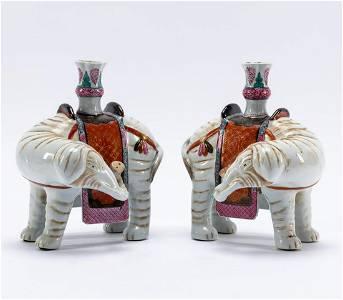 PAIR, CHINESE PORCELAIN ELEPHANT-FORM CANDLESTICKS