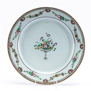 CHINESE EXPORT PORCELAIN FLORAL CHARGER