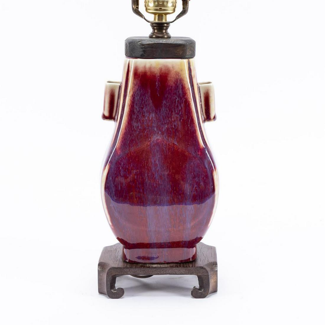 CHINESE FLAMBE HU PORCELAIN VASE TABLE LAMP