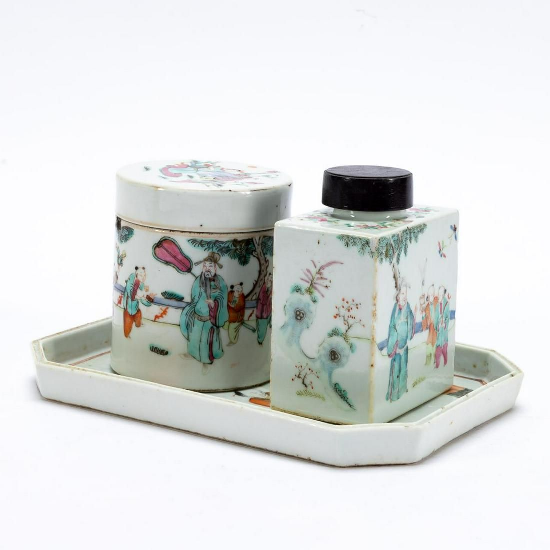 CHINESE FAMILLE ROSE CANNISTER, TEA CADDY, & TRAY