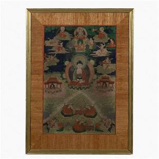 TIBETAN GOUACHE THANGKA PAINTING OF BUDDHA