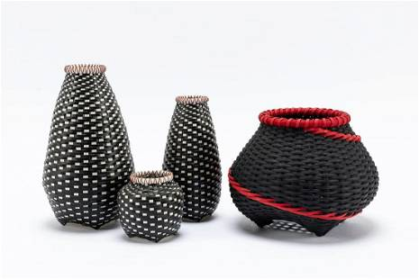 GROUP OF 4 20TH C. AMERICAN CRAFT WOVEN BASKETS