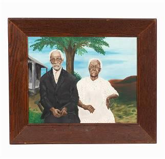 FOLK ART PORTRAIT OF AFRICAN AMERICAN COUPLE
