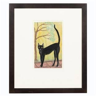 LINDA ANDERSON FOLK ART BLACK CAT, FRAMED, 2003