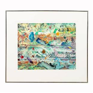 HERB CREECY, ABSTRACT OIL ON PAPER, FRAMED