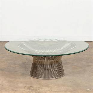 KNOLL PLATNER WIRE COFFEE TABLE W/ GLASS TOP