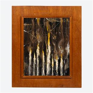 ROMEO TABUENA, MCM ABSTRACT PAINTING ON PANEL 1952