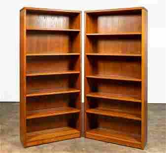 PAIR, DANISH MODERN TEAK FIVE-SHELF BOOKCASES