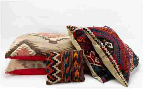 FIVE MULTICOLORED PATTERNED KILIM THROW PILLOWS