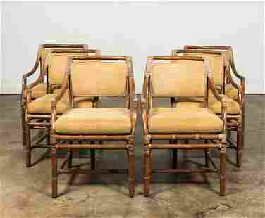 SET, SIX MCGUIRE RATTAN DINING CHAIRS