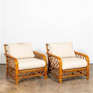PAIR, FICKS & REED RATTAN ARMCHAIRS WITH CUSHIONS