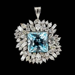 PLATINUM, BLUE TOPAZ & DIAMOND PENDANT, 19.43CTW