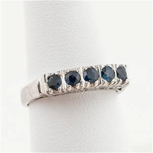 STERLING SILVER & 0.5 CTW DARK BLUE SAPPHIRE RING
