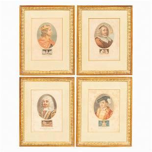 SET OF FOUR ENGLISH PORTRAIT ENGRAVINGS, FRAMED