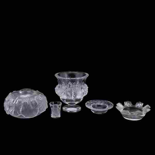 FIVE PIECES, LALIQUE FROSTED GLASS TABLEWARE