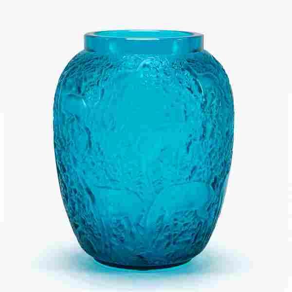 "LALIQUE ""BICHES"" BLUE-TURQUOISE GLASS VASE"