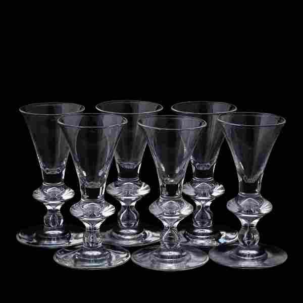 SET OF 6 STEUBEN GLASS CORDIALS, PATTERN 7737
