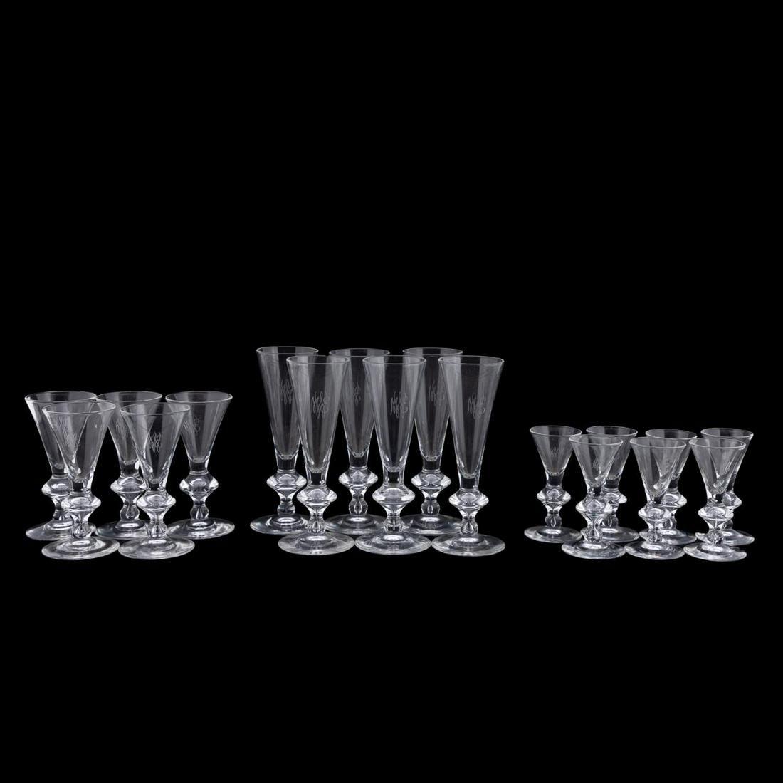 18PC, STEUBEN GLASS STEMWARE, PATTERN 7737