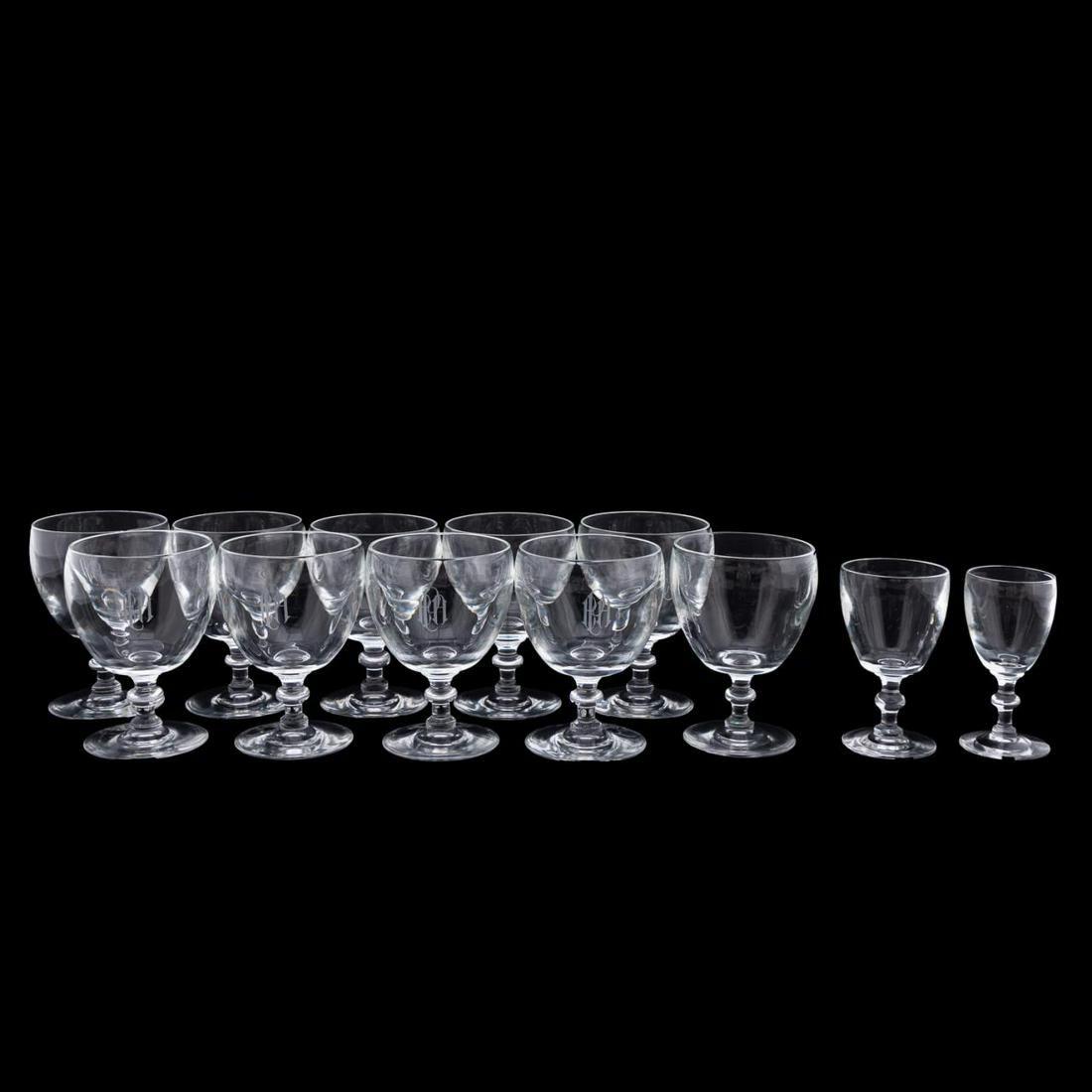 12PC, STEUBEN GLASS MIXED-PATTERN STEMWARE