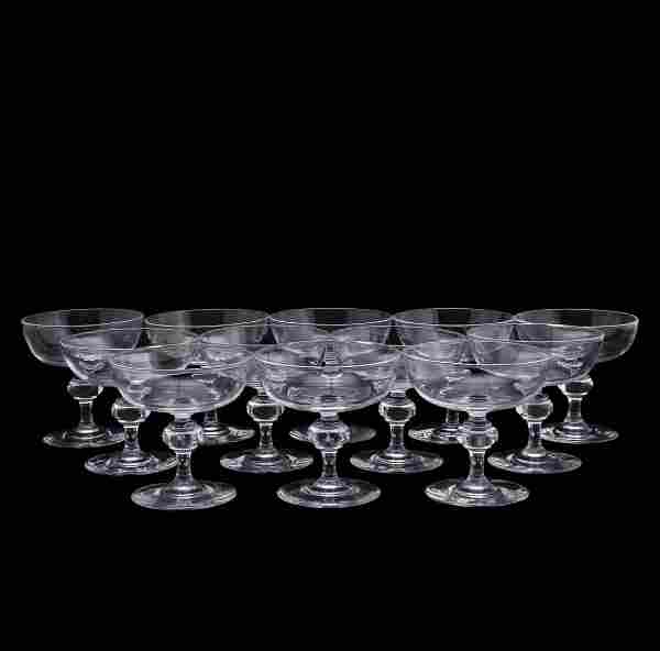 SET OF 12 STEUBEN CHAMPAGNE COUPES, PATTERN 7925