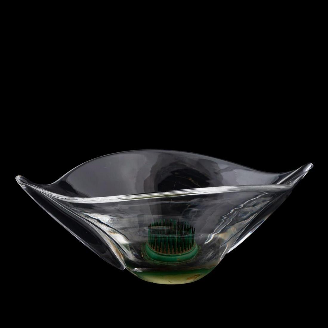 STEUBEN GLASS BOAT-FORM FLOWER BOWL