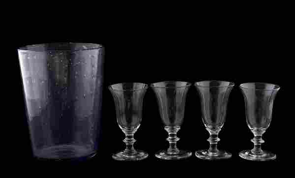 MID 19TH CENTURY GLASS TABLEWARE, 5 PCS