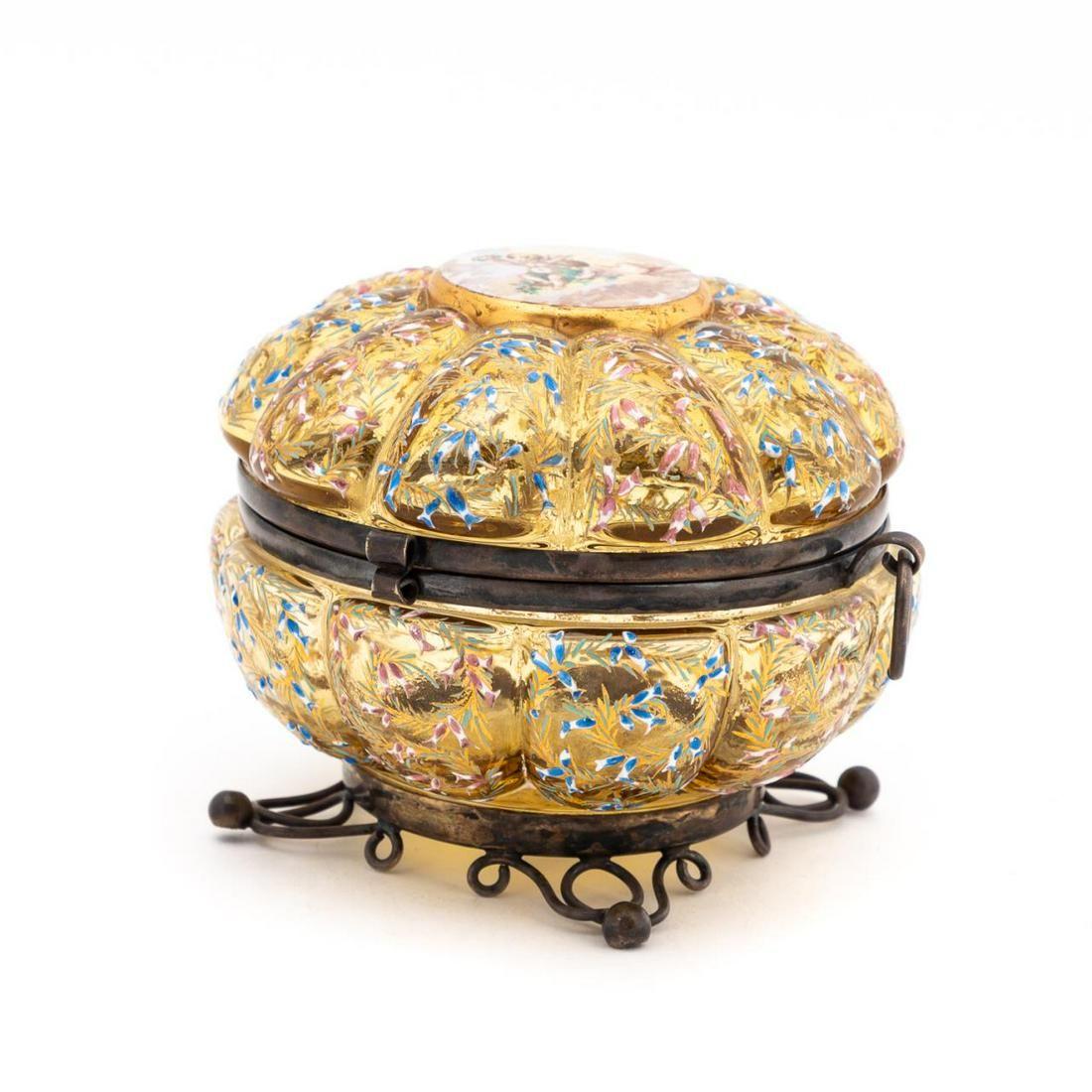 MOSER AMBER GLASS ENAMELED DRESSER BOX