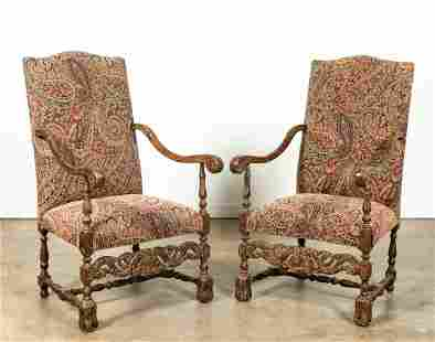 PR, LOUIS XIV STYLE PAISLEY UPHOLSTERED ARMCHAIRS