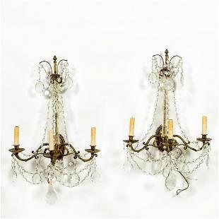 PAIR, LOUIS XIV-STYLE CRYSTAL THREE-LIGHT SCONCES