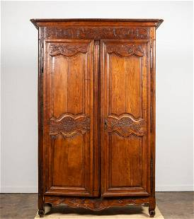 19TH C. FRENCH PROVINCIAL OAK ARMOIRE
