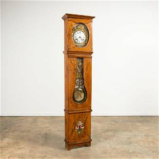 19TH C. FRENCH FAUX BOIS PAINTED COMTOISE CLOCK
