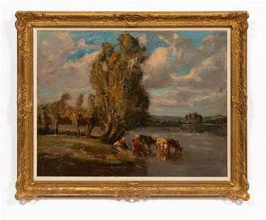 JULES LEROY, LANDSCAPE WITH COWS, GILTWOOD FRAME