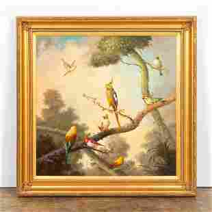 JEANNINE ALBERT, BIRDS IN LANDSCAPE OIL ON CANVAS