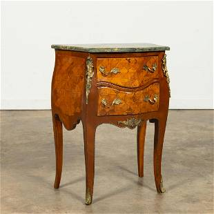 LOUIS XV-STYLE PARQUETRY INLAID TWO-DRAWER COMMODE