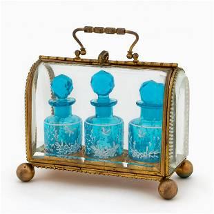 19TH C. FRENCH BRONZE THREE-BOTTLE PERFUME CASKET
